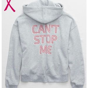 """BNWT.  Aerie """"Can't Stop Me"""" Grey L/S Hoodie"""